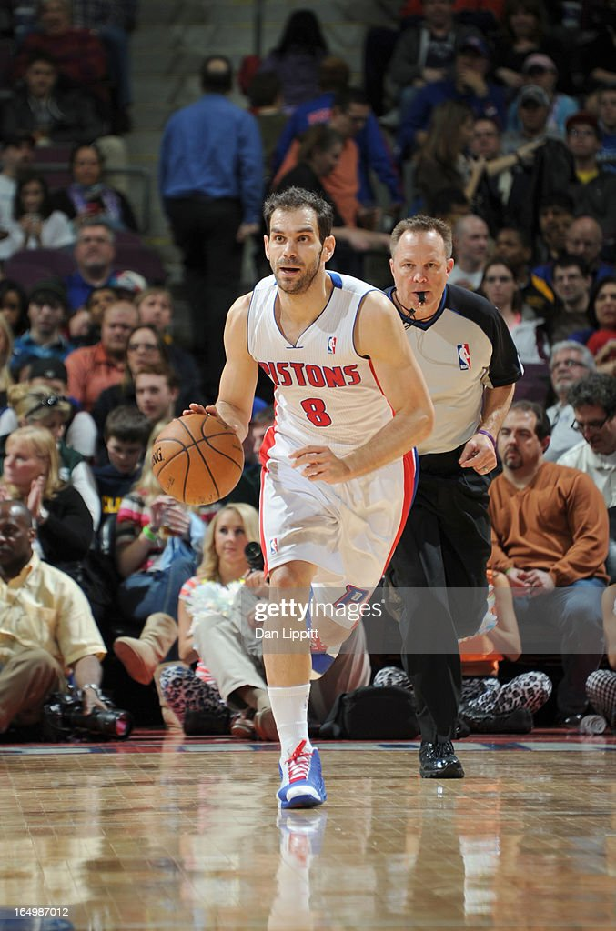 Jose Calderon #8 of the Detroit Pistons drives during the game between the Detroit Pistons and the Toronto Raptors on March 29, 2013 at The Palace of Auburn Hills in Auburn Hills, Michigan.