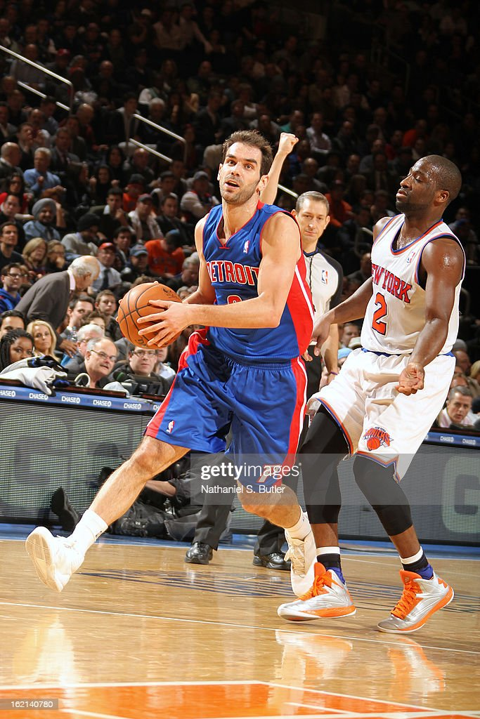 Jose Calderon #8 of the Detroit Pistons drives to the basket against the New York Knicks on February 4, 2013 at Madison Square Garden in New York City.