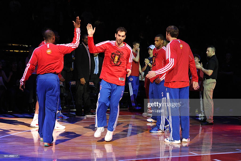 <a gi-track='captionPersonalityLinkClicked' href=/galleries/search?phrase=Jose+Calderon&family=editorial&specificpeople=548297 ng-click='$event.stopPropagation()'>Jose Calderon</a> #8 of the Detroit Pistons gets introduced before the game against the San Antonio Spurs on February 8, 2013 at The Palace of Auburn Hills in Auburn Hills, Michigan.