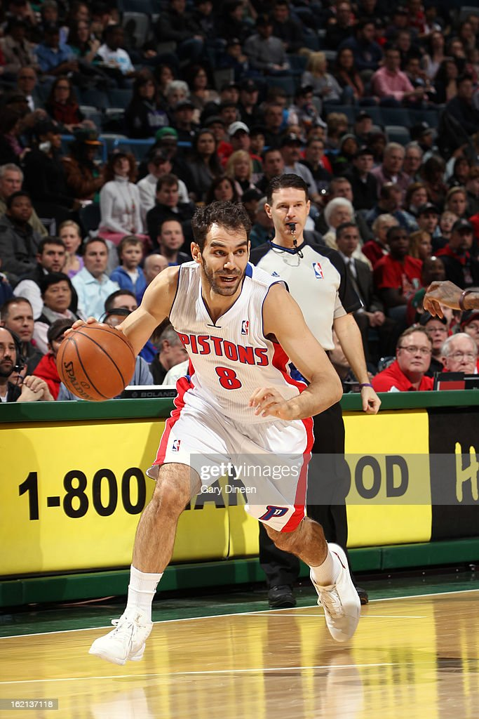 <a gi-track='captionPersonalityLinkClicked' href=/galleries/search?phrase=Jose+Calderon&family=editorial&specificpeople=548297 ng-click='$event.stopPropagation()'>Jose Calderon</a> #8 of the Detroit Pistons handles the ball against the Milwaukee Bucks on February 9, 2013 at the BMO Harris Bradley Center in Milwaukee, Wisconsin.