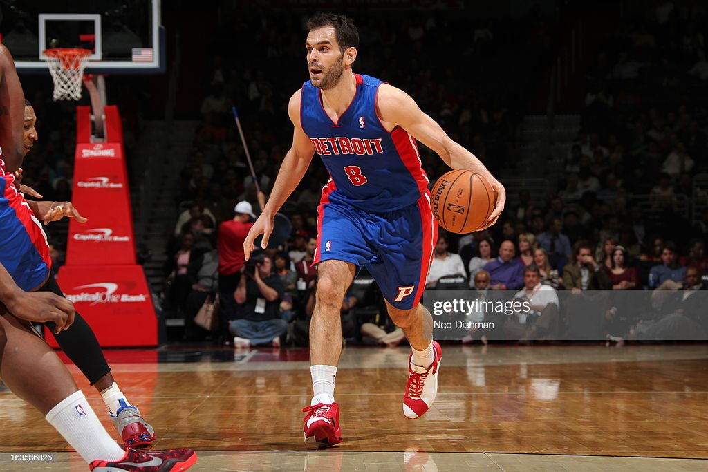 Jose Calderon #8 of the Detroit Pistons handles the ball against the Washington Wizards at the Verizon Center on February 27, 2013 in Washington, DC.
