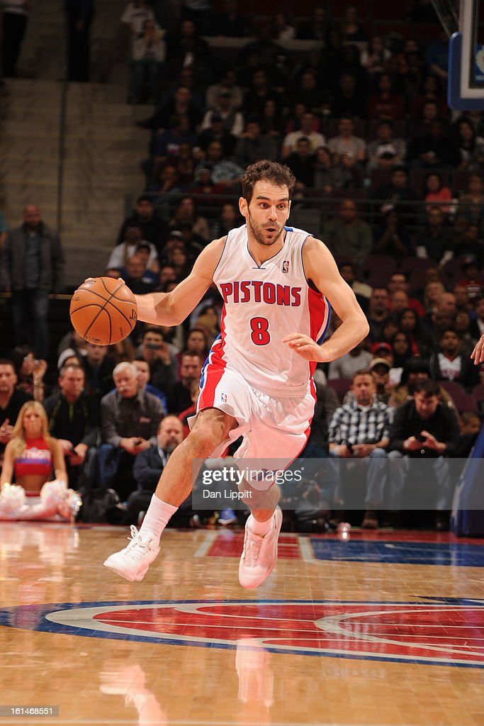 Jose Calderon #8 of the Detroit Pistons handles the ball against the San Antonio Spurs on February 8, 2013 at The Palace of Auburn Hills in Auburn Hills, Michigan.