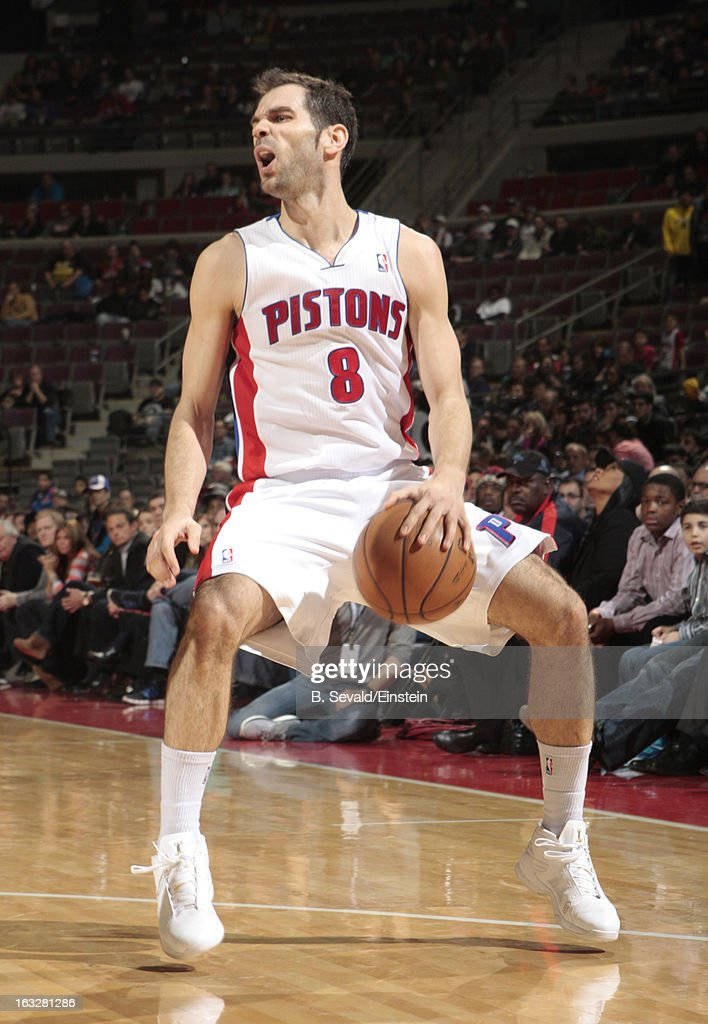 Jose Calderon #8 of the Detroit Pistons handles the ball during the game between the Detroit Pistons and the Atlanta Hawks on March 6, 2013 at The Palace of Auburn Hills in Auburn Hills, Michigan.