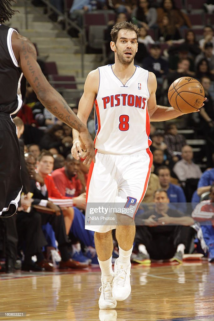 <a gi-track='captionPersonalityLinkClicked' href=/galleries/search?phrase=Jose+Calderon&family=editorial&specificpeople=548297 ng-click='$event.stopPropagation()'>Jose Calderon</a> #8 of the Detroit Pistons handles the ball up-court against the Brooklyn Nets on February 6, 2013 at The Palace of Auburn Hills in Auburn Hills, Michigan.