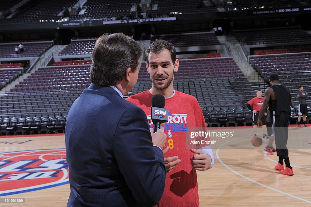 Jose Calderon #8 of the Detroit Pistons is being interviewed prior to the game between the Detroit Pistons and the Toronto Raptors on March 29, 2013 at The Palace of Auburn Hills in Auburn Hills, Michigan.