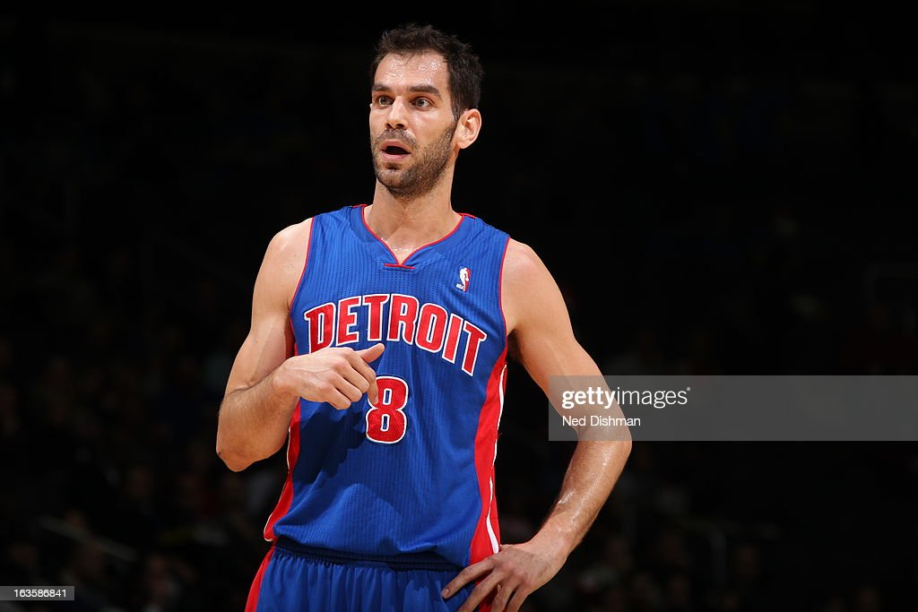 Jose Calderon #8 of the Detroit Pistons looks on during the game against the Washington Wizards at the Verizon Center on February 27, 2013 in Washington, DC.