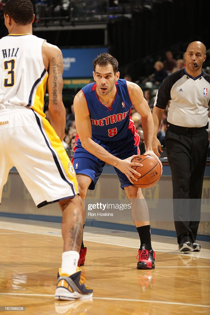 Jose Calderon #8 of the Detroit Pistons looks to drive to the basket against the Indiana Pacers on February 22, 2013 at Bankers Life Fieldhouse in Indianapolis, Indiana.