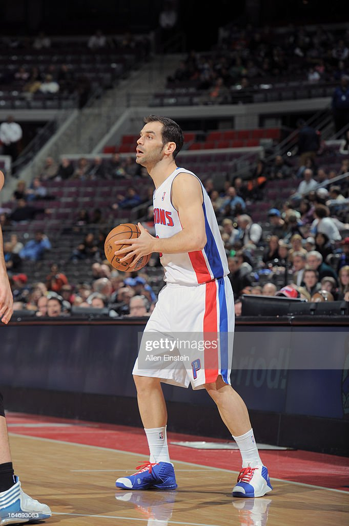 Jose Calderon #8 of the Detroit Pistons looks to pass against the Minnesota Timberwolves during the game on March 26, 2013 at The Palace of Auburn Hills in Auburn Hills, Michigan.