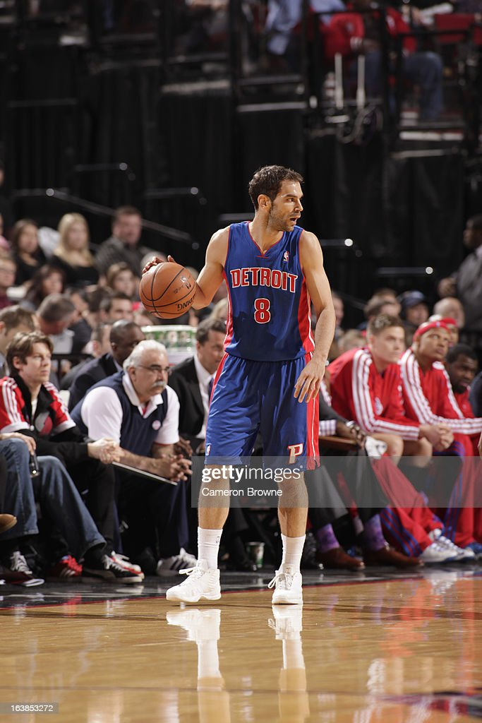 Jose Calderon #8 of the Detroit Pistons protects the ball during the game between the Detroit Pistons and the Portland Trail Blazers on March 16, 2013 at the Rose Garden Arena in Portland, Oregon.