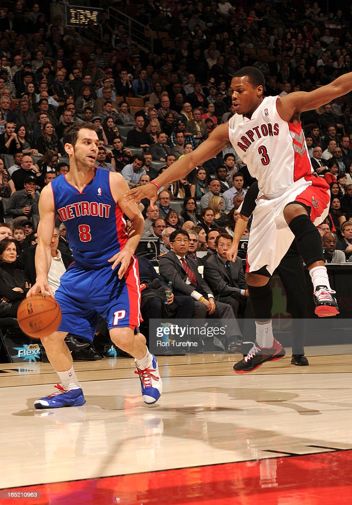 <a gi-track='captionPersonalityLinkClicked' href=/galleries/search?phrase=Jose+Calderon&family=editorial&specificpeople=548297 ng-click='$event.stopPropagation()'>Jose Calderon</a> #8 of the Detroit Pistons protects the ball from <a gi-track='captionPersonalityLinkClicked' href=/galleries/search?phrase=Kyle+Lowry&family=editorial&specificpeople=714625 ng-click='$event.stopPropagation()'>Kyle Lowry</a> #3 of the Toronto Raptors during the game between the Toronto Raptors and the Detroit Pistons on April 1, 2013 at the Air Canada Centre in Toronto, Ontario, Canada.