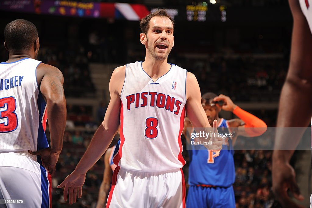 Jose Calderon #8 of the Detroit Pistons reacts during the game between the Detroit Pistons and the Atlanta Hawks on March 6, 2013 at The Palace of Auburn Hills in Auburn Hills, Michigan.