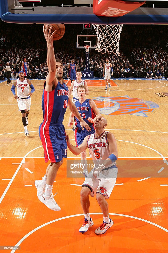 Jose Calderon #8 of the Detroit Pistons shoots against <a gi-track='captionPersonalityLinkClicked' href=/galleries/search?phrase=Jason+Kidd&family=editorial&specificpeople=201560 ng-click='$event.stopPropagation()'>Jason Kidd</a> #5 of the New York Knicks on February 4, 2013 at Madison Square Garden in New York City.