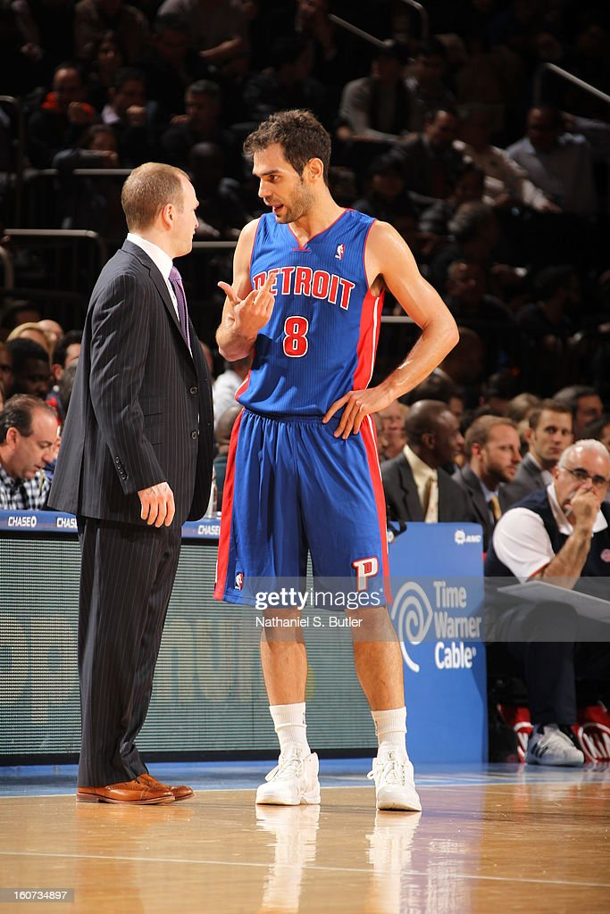 Jose Calderon #8 of the Detroit Pistons, talks to his Head Coach Lawrence Frank during a game against the New York Knicks on February 4, 2013 at Madison Square Garden in New York City.