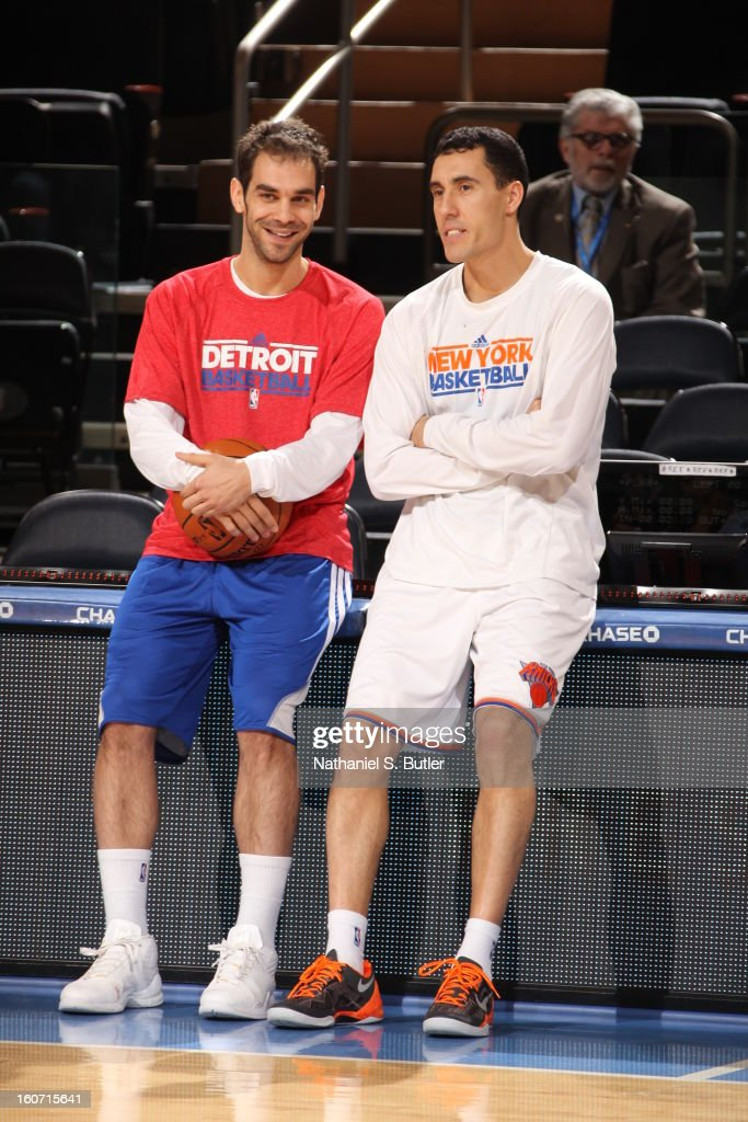 Jose Calderon #8 of the Detroit Pistons talks to Pablo Prigioni #9 of the New York Knicks on February 4, 2013 at Madison Square Garden in New York City.