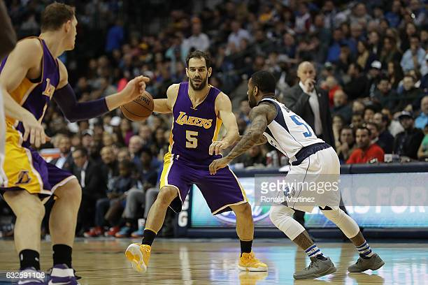 Jose Calderon of the Los Angeles Lakers at American Airlines Center on January 22 2017 in Dallas Texas NOTE TO USER User expressly acknowledges and...