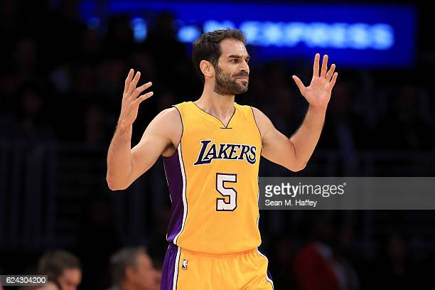 Jose Calderon of the Los Angeles Lakers reacts to a called foul during the second half of a game against the San Antonio Spurs at Staples Center on...