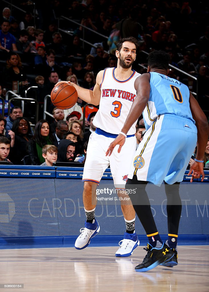 <a gi-track='captionPersonalityLinkClicked' href=/galleries/search?phrase=Jose+Calderon&family=editorial&specificpeople=548297 ng-click='$event.stopPropagation()'>Jose Calderon</a> #3 of the New York Knicks handles the ball during the game against the Denver Nuggets on February 7, 2016 at Madison Square Garden in New York City, New York.