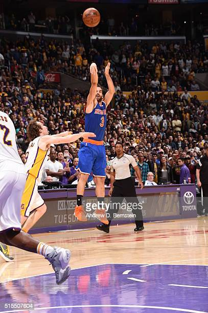Jose Calderon of the New York Knicks hits the winning shot against the Los Angeles Lakers on March 13 2016 at STAPLES Center in Los Angeles...