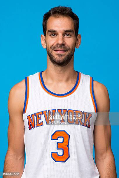 Jose Calderon of the New York Knicks poses for a head shot at media day at the MSG Training Facility in Greenburgh New York on September 28 2015 NOTE...