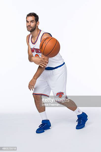 Jose Calderon of the New York Knicks poses for a portrait at Media Day at the MSG Training Facility in Greenburgh New York on September 28 2015 NOTE...