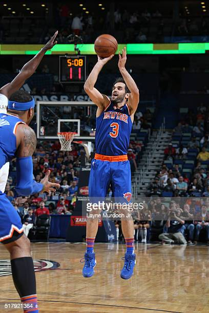 Jose Calderon of the New York Knicks shoots against the New Orleans Pelicans during the game on March 28 2016 at Smoothie King Center in New Orleans...
