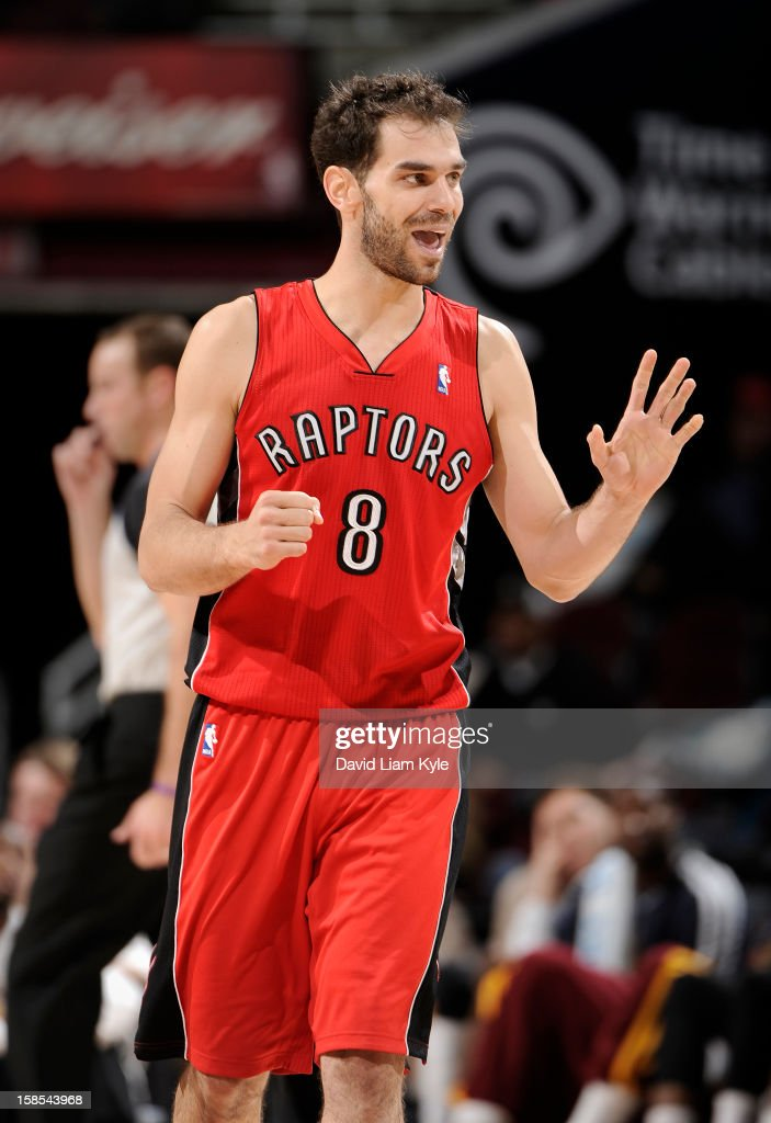 <a gi-track='captionPersonalityLinkClicked' href=/galleries/search?phrase=Jose+Calderon&family=editorial&specificpeople=548297 ng-click='$event.stopPropagation()'>Jose Calderon</a> #8 of the Toronto Raptors acknowledges his teammates after making a shot late in the win over the Cleveland Cavaliers at The Quicken Loans Arena on December 18, 2012 in Cleveland, Ohio.