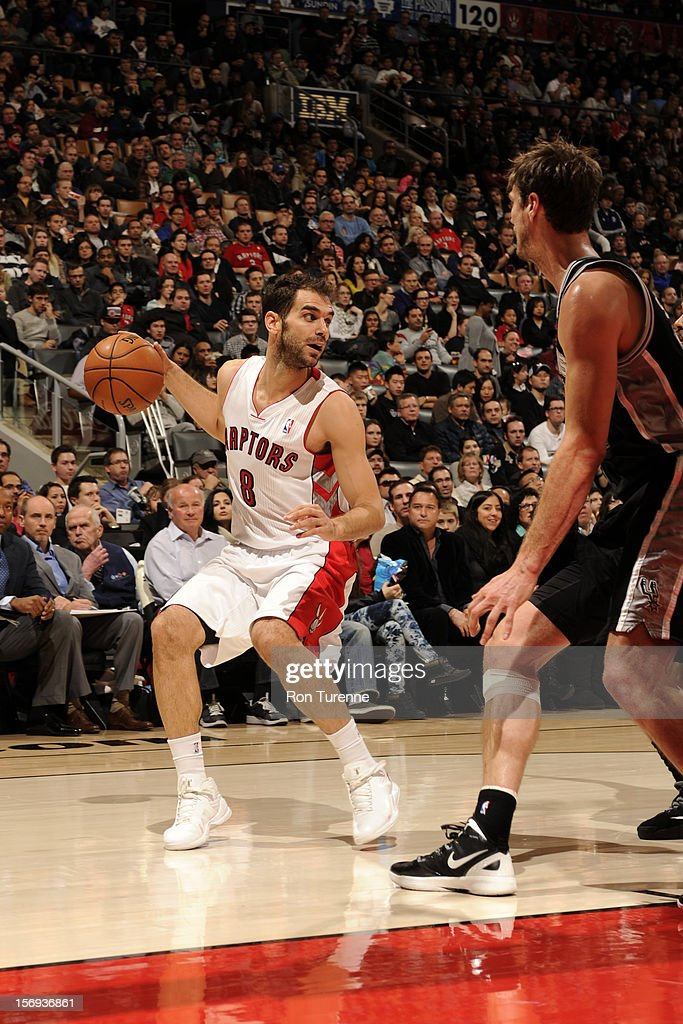 Jose Calderon #8 of the Toronto Raptors backs up and looks to pass the ball vs the San Antonio Spurs during the game on November 25, 2012 at the Air Canada Centre in Toronto, Ontario, Canada.
