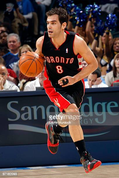 Jose Calderon of the Toronto Raptors brings the ball up court during a game against the Oklahoma City Thunder on February 28 2010 at the Ford Center...