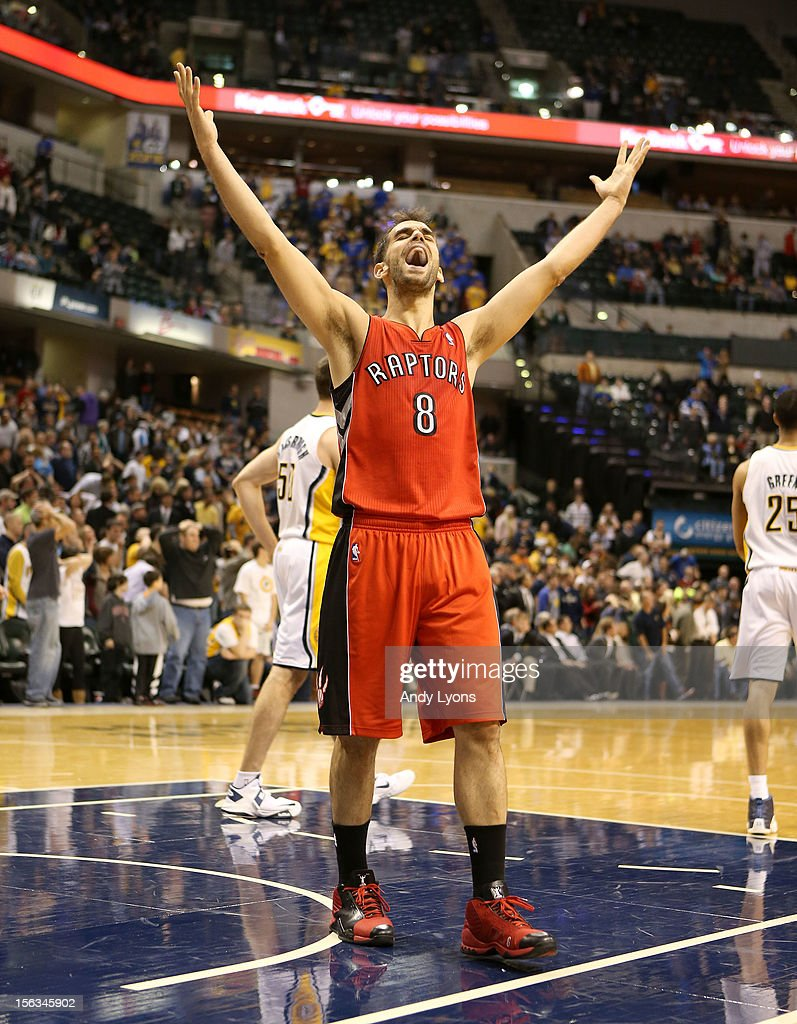 Jose Calderon #8 of the Toronto Raptors celebrates following the NBA game against the Indiana Pacersat Bankers Life Fieldhouse on November 13, 2012 in Indianapolis, Indiana.