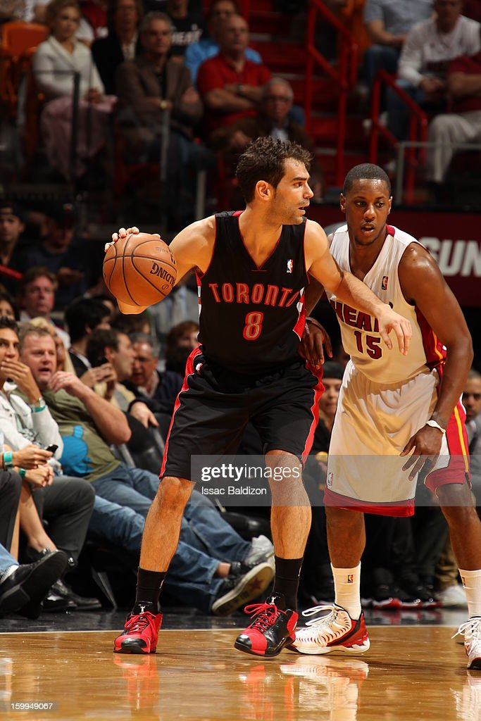 Jose Calderon #8 of the Toronto Raptors controls the ball against Mario Chalmers #15 of the Miami Heat on January 23, 2013 at American Airlines Arena in Miami, Florida.