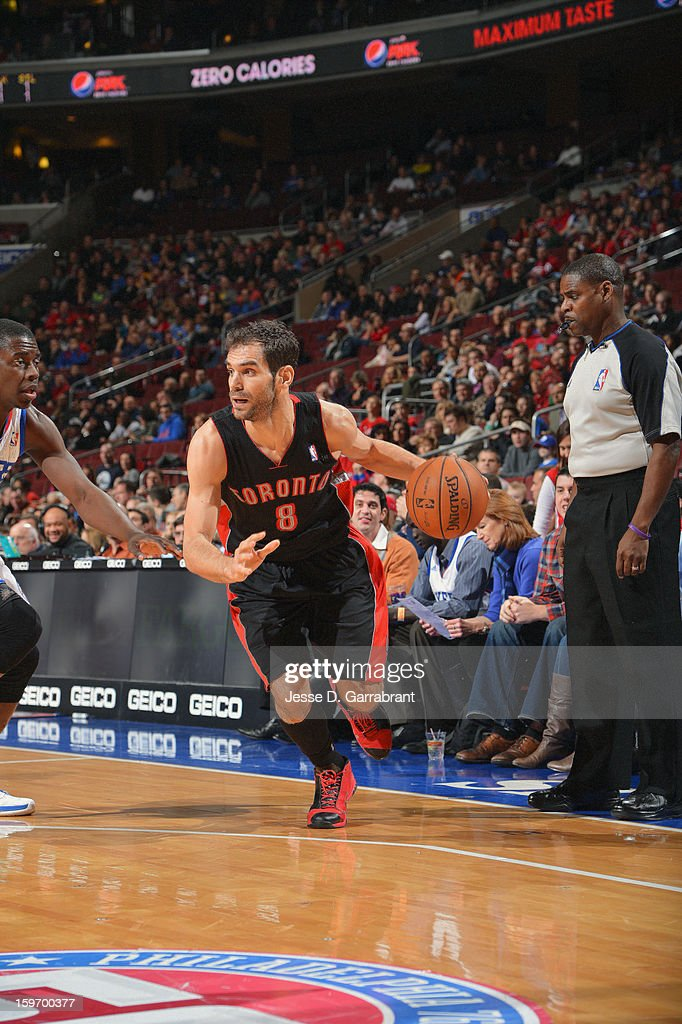 Jose Calderon #8 of the Toronto Raptors dribbles to the basket against the Philadelphia 76ers during the game at the Wells Fargo Center on January 18, 2013 in Philadelphia, Pennsylvania.