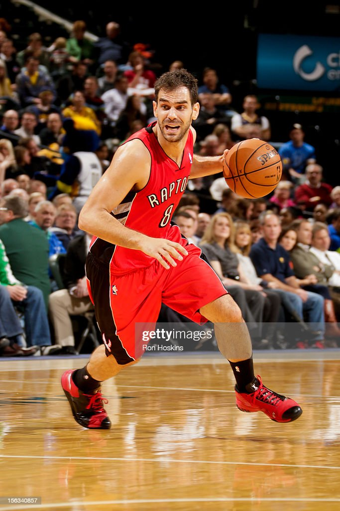Jose Calderon #8 of the Toronto Raptors drives against the Indiana Pacers on November 13, 2012 at Bankers Life Fieldhouse in Indianapolis, Indiana.