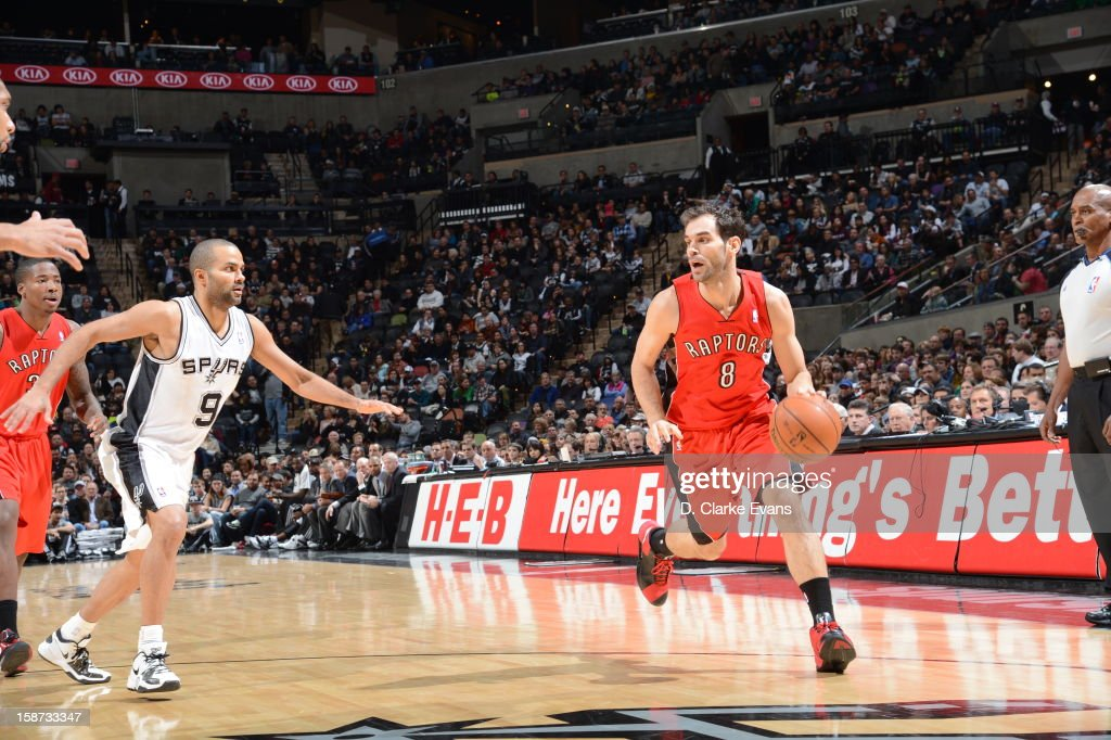 Jose Calderon #8 of the Toronto Raptors drives during the game between the Toronto Raptors and the San Antonio Spurs on December 26, 2012 at the AT&T Center in San Antonio, Texas.