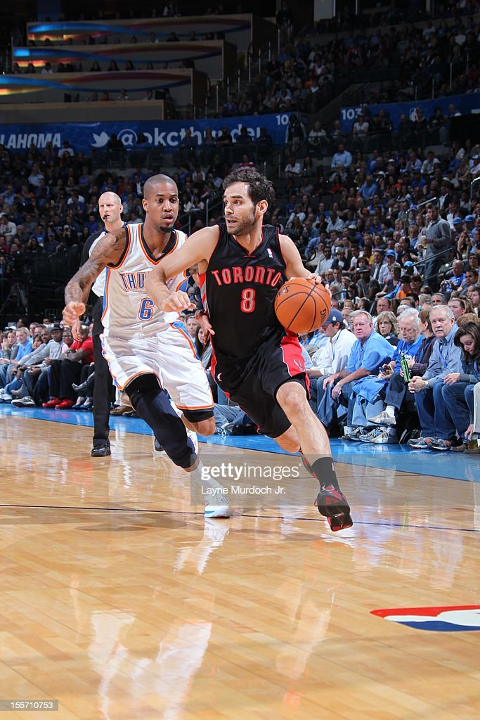 Jose Calderon #8 of the Toronto Raptors drives to the basket against <a gi-track='captionPersonalityLinkClicked' href=/galleries/search?phrase=Eric+Maynor&family=editorial&specificpeople=4194194 ng-click='$event.stopPropagation()'>Eric Maynor</a> #6 of the Oklahoma City Thunder on November 6, 2012 at the Chesapeake Energy Arena in Oklahoma City, Oklahoma.