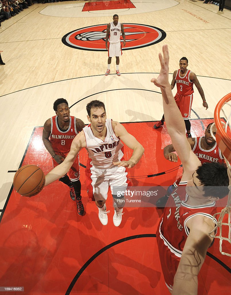 <a gi-track='captionPersonalityLinkClicked' href=/galleries/search?phrase=Jose+Calderon&family=editorial&specificpeople=548297 ng-click='$event.stopPropagation()'>Jose Calderon</a> #8 of the Toronto Raptors goes to the basket against <a gi-track='captionPersonalityLinkClicked' href=/galleries/search?phrase=Ersan+Ilyasova&family=editorial&specificpeople=557070 ng-click='$event.stopPropagation()'>Ersan Ilyasova</a> #7 of the Milwaukee Bucks during the game between the Toronto Raptors and the Milwaukee Bucks on January 13, 2013 at the Air Canada Centre in Toronto, Ontario, Canada.