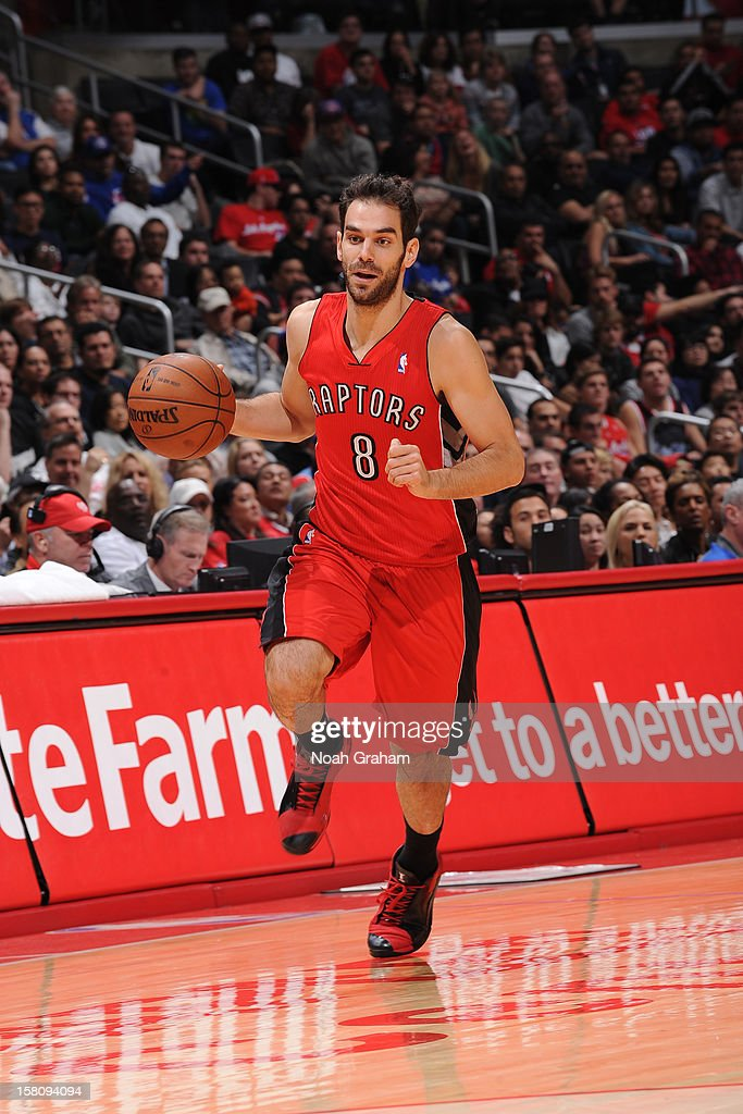 Jose Calderon #8 of the Toronto Raptors handles the ball against the Los Angeles Clippers on December 9, 2012 at the Staples Center in Los Angeles, California.