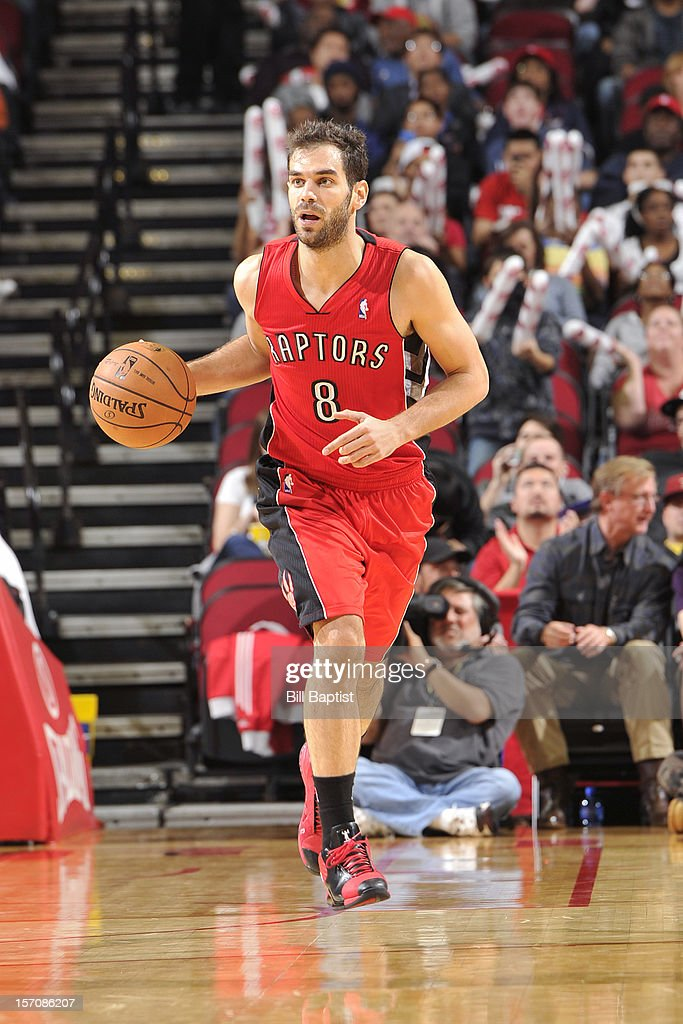 <a gi-track='captionPersonalityLinkClicked' href=/galleries/search?phrase=Jose+Calderon&family=editorial&specificpeople=548297 ng-click='$event.stopPropagation()'>Jose Calderon</a> #8 of the Toronto Raptors handles the ball against the Houston Rockets on November 27, 2012 at the Toyota Center in Houston, Texas.