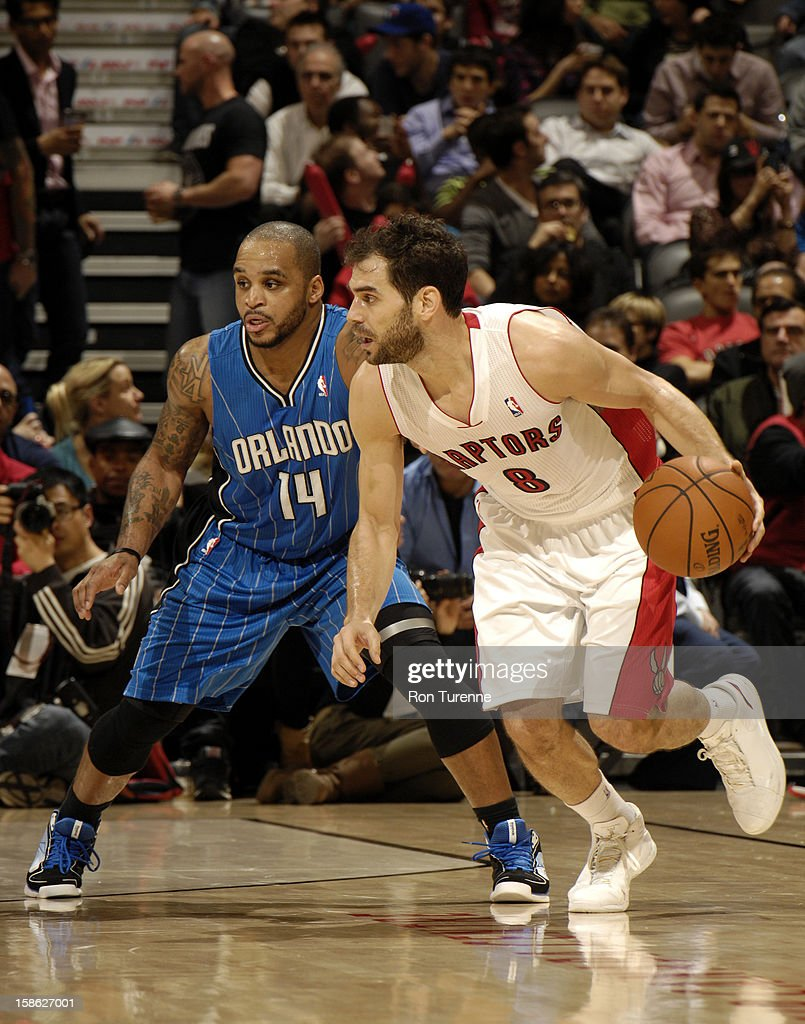 <a gi-track='captionPersonalityLinkClicked' href=/galleries/search?phrase=Jose+Calderon&family=editorial&specificpeople=548297 ng-click='$event.stopPropagation()'>Jose Calderon</a> #8 of the Toronto Raptors looks for the open man against the Orlando Magic during the game on December 19, 2012 at the Air Canada Centre in Toronto, Ontario, Canada.
