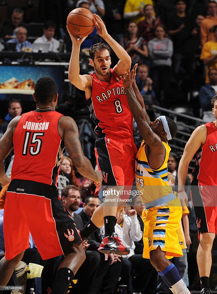 Jose Calderon #8 of The Toronto Raptors looks to pass the ball against the Denver Nuggets on December 3, 2012 at the Pepsi Center in Denver, Colorado.