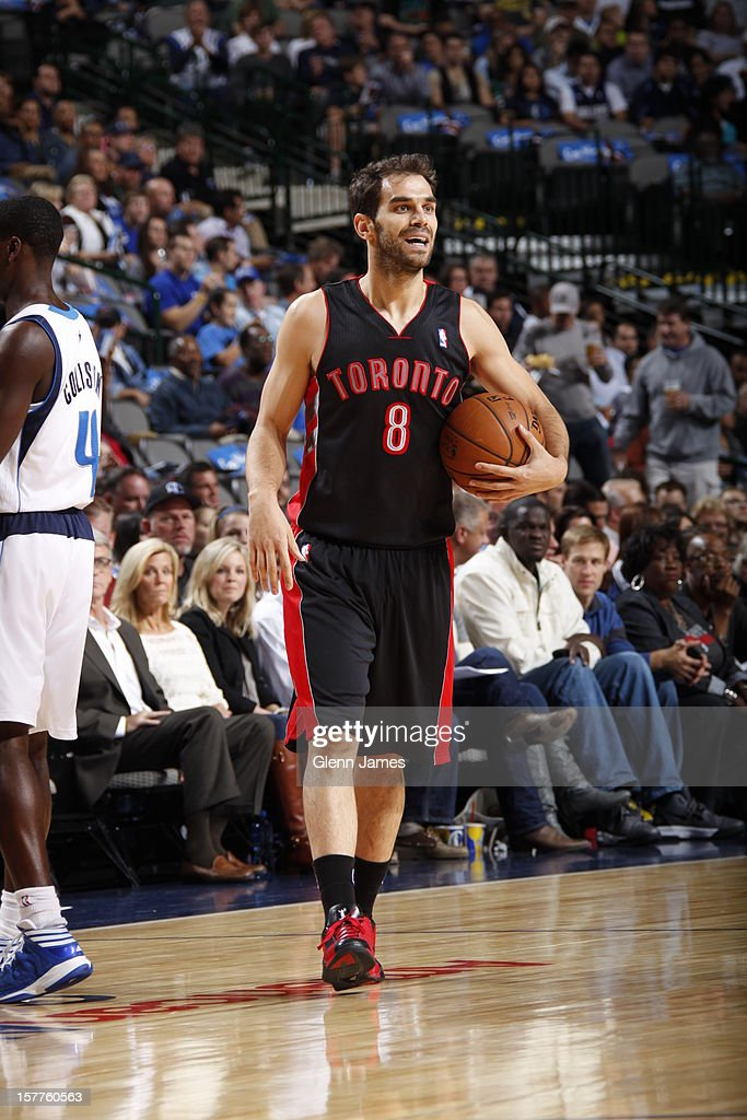<a gi-track='captionPersonalityLinkClicked' href=/galleries/search?phrase=Jose+Calderon&family=editorial&specificpeople=548297 ng-click='$event.stopPropagation()'>Jose Calderon</a> #8 of the Toronto Raptors picks up his dribble against the Dallas Mavericks on November 5, 2012 at the American Airlines Center in Dallas, Texas.