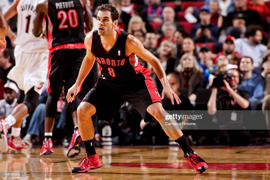 Jose Calderon #8 of the Toronto Raptors plays defense against the Portland Trail Blazers on December 10, 2012 at the Rose Garden Arena in Portland, Oregon.