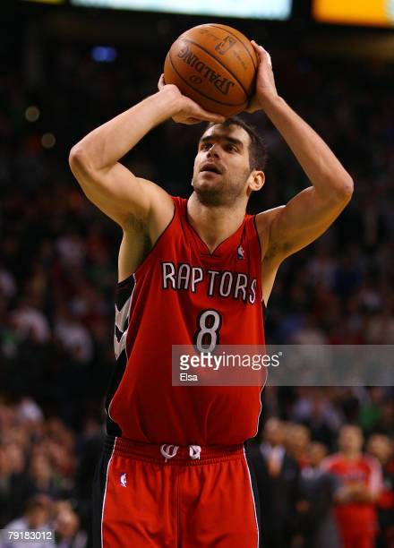 Jose Calderon of the Toronto Raptors shoots a free throw in the final mintues of the game on January 23 2008 at the TD Banknorth Garden in Boston...