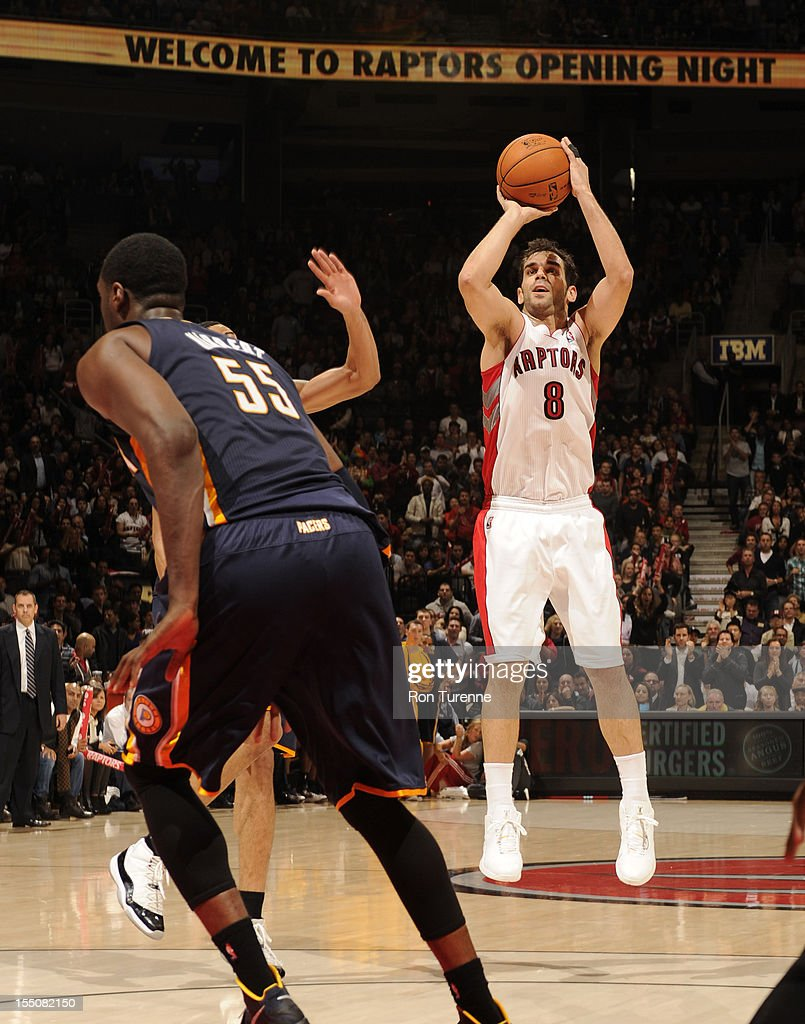 <a gi-track='captionPersonalityLinkClicked' href=/galleries/search?phrase=Jose+Calderon&family=editorial&specificpeople=548297 ng-click='$event.stopPropagation()'>Jose Calderon</a> #8 of the Toronto Raptors shoots against the Indiana Pacers on October 31, 2012 at the Air Canada Centre in Toronto, Ontario, Canada.