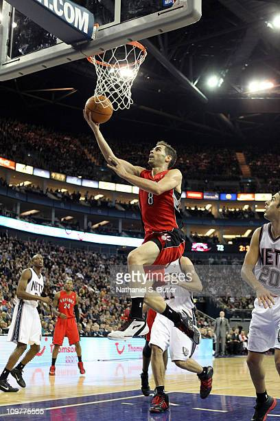 Jose Calderon of the Toronto Raptors shoots against the New Jersey Nets during their game at the O2 Arena on March 4 2011 in London England NOTE TO...