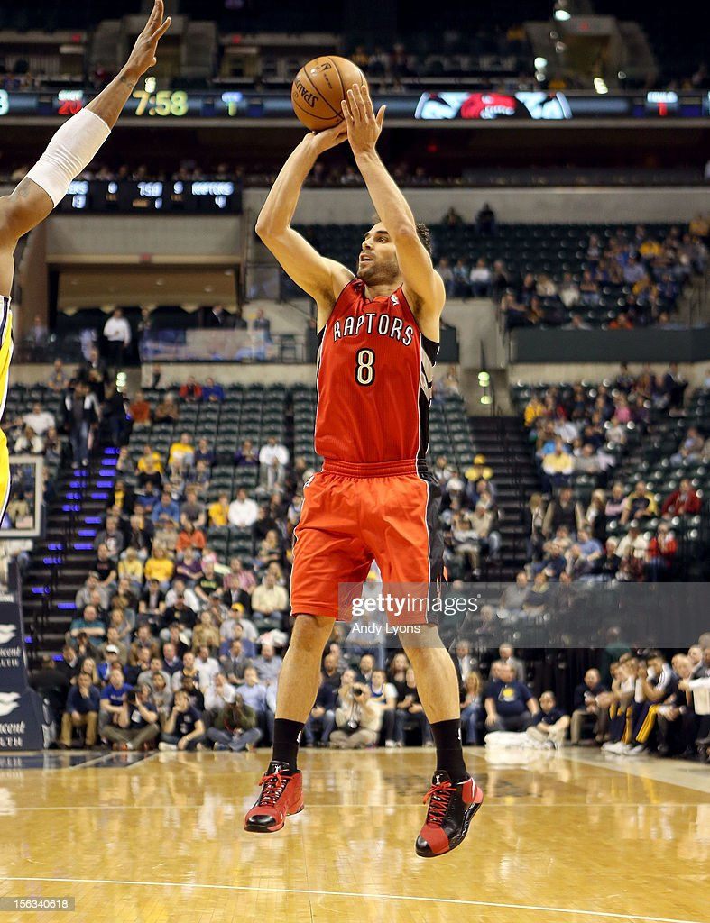 Jose Calderon #8 of the Toronto Raptors shoots the ball during the NBA game against the Indiana Pacersat Bankers Life Fieldhouse on November 13, 2012 in Indianapolis, Indiana.