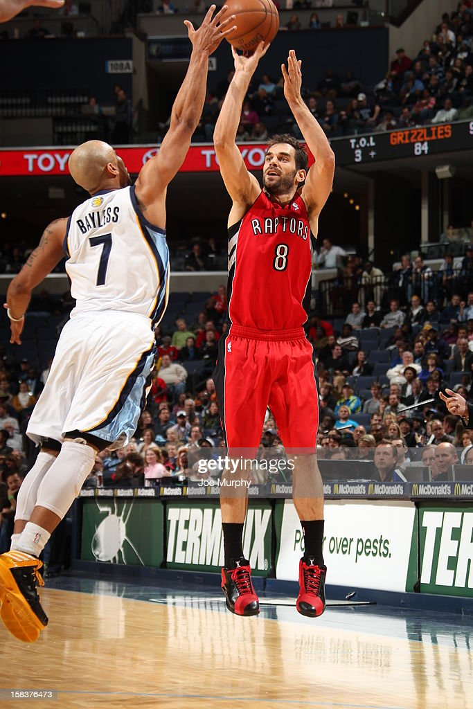 Jose Calderon #8 of the Toronto Raptors takes a shot over <a gi-track='captionPersonalityLinkClicked' href=/galleries/search?phrase=Jerryd+Bayless&family=editorial&specificpeople=4216027 ng-click='$event.stopPropagation()'>Jerryd Bayless</a> #7 of the Memphis Grizzlies on November 28, 2012 at FedExForum in Memphis, Tennessee.