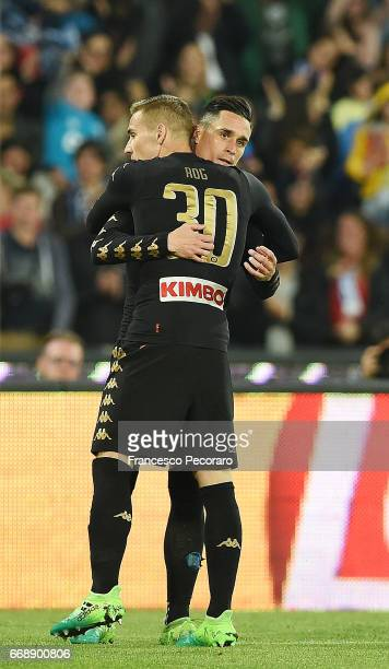 Jose Callejon and Marko Rog of SSC Napoli celebrate the 10 goal scored by Dries Mertens during the Serie A match between SSC Napoli and Udinese...