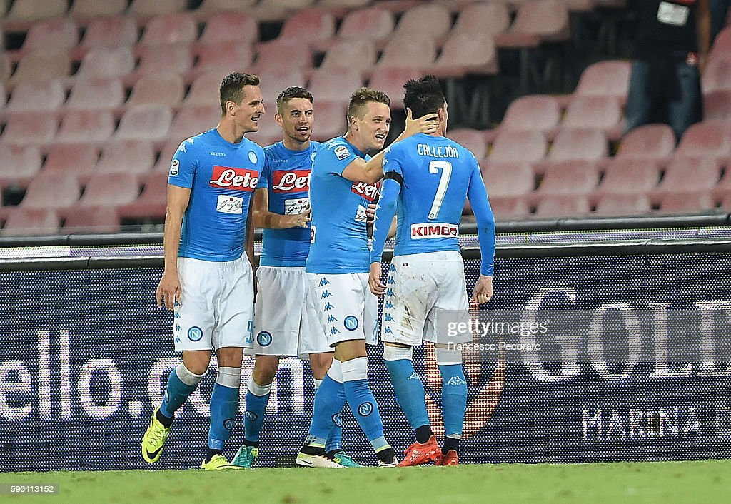 Jose Callejon and Napoli's players of Napoli celebrates after scoring goal 32 during the Serie A match between SSC Napoli and AC Milan at Stadio San...