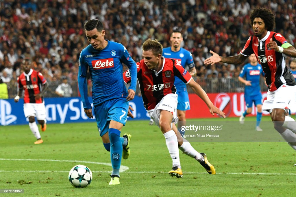 Jose Callejon of Naples during the UEFA Champions League Qualifying Play-Offs round, second leg match, between OGC Nice and SSC Napoli at Allianz Riviera Stadium on August 22, 2017 in Nice, France.