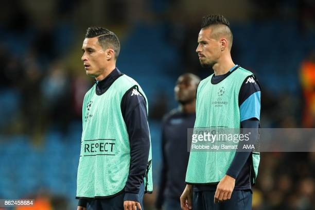 Jose Callejon of Napoli and Marek Hamsik of Napoli warm up prior to the UEFA Champions League group F match between Manchester City and SSC Napoli at...